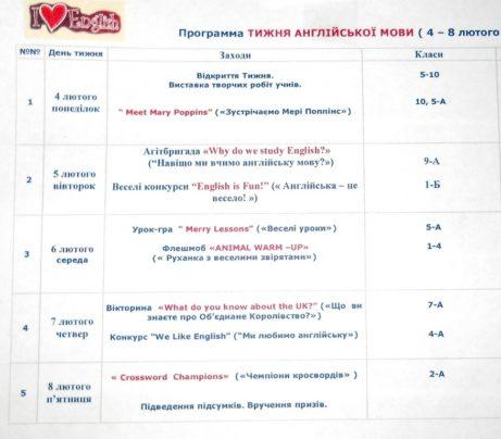 Програма тижня англійської мови